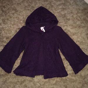 Purple hooded sweater shrug